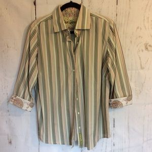 Women's tailored button front striped floral top